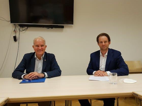 Mit einem 8-Punkte-Plan will die ÖVP Wien (v.l.n.r.: Stadtrechnungshofsprecher Michael Gorlitzer und Klubchef Markus Wölbitsch) den Stadtrechnungshof stärker und unabhängiger machen.