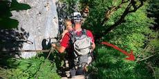 Wanderer klammerte sich über 50-m-Schlucht an Wurzel