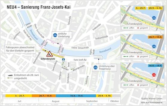 Für Sanierungsarbeiten an der U4 kommt es zu Umleitungen am Franz-Josefs-Kai.