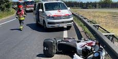Biker (50) crasht auf A2-Auffahrt und stirbt