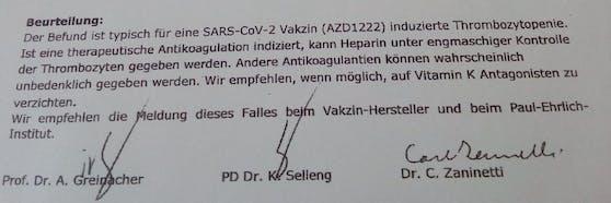 Ein Gutachten der Universitätsmedizin Greifswald bestätigt den Zusammenhang zwischen der Thrombose und der Impfung.