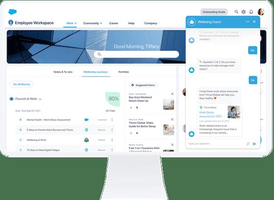 Work.com Wellbeing hilft Mitarbeiter:innen durch Puls-Checks und personalisierte Wellness-Inhalte, ihre Gesundheit zu verbessern.