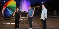 Hochstrahlbrunnen putzt sich für Vienna Pride heraus
