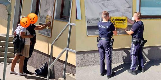 Die Täter wurden bei der Tat beobachtet (links) , die Polizei entfernte das Schild (rechts)