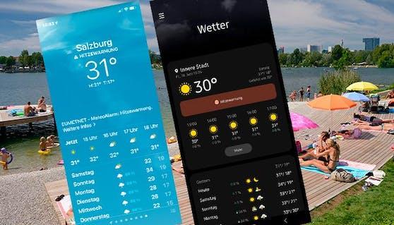 Hitze-Warnung für Österreichs - jetzt auch via Wetter-Apps.