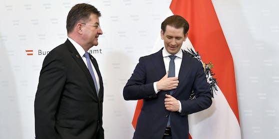 Der EU-Sonderbeauftragte Miroslav Lajcak und Österreichs Bundeskanzler Sebastian Kurz (ÖVP) am Freitag im Rahmen der Westbalkankonferenz in Wien.