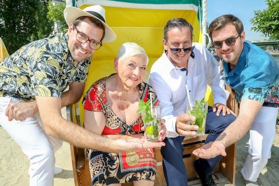 Jazz Gitti, Viktor Gernot (links) mit Flo und Wisch.