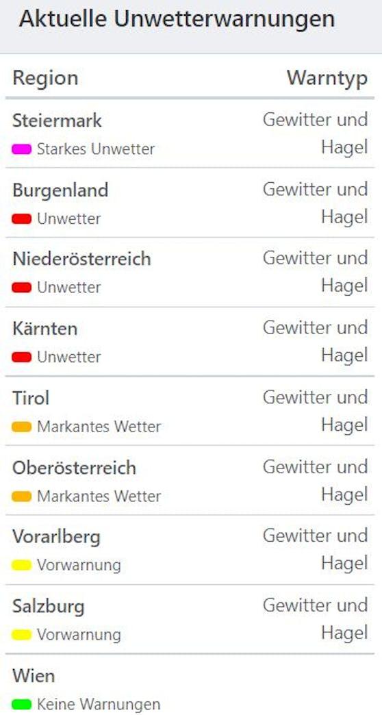 Aktuelle Unwetterwarnungen in Österreich (Stand 16.30 Uhr)