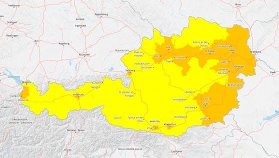 """Warnung der ZAMG: Im Donauraum, Burgenland und Südosten der Steiermark ist mit """"starker Hitzebelastung"""" zu rechnen."""