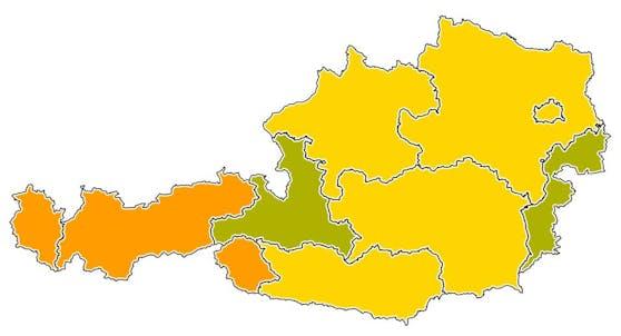 Salzburg wird bei der Corona-Ampelschaltung am 2. Juni 2021 grün-gelb.