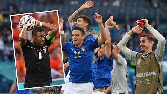 Österreich (l. Alaba) winkt ein Achtelfinal-Duell mit Italien