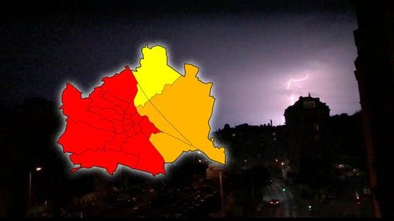 Erste Blitze in Wien – ein heftiges Unwetter hat die Hauptstadt erreicht.