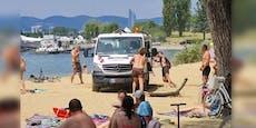 Häuseltransporter bleibt bei Donauinsel im Sand stecken