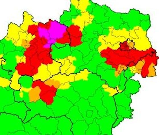 Am Montagabend stufte die Unwetterzentrale auch Wien als rote Zone was Gewitter betrifft ein.
