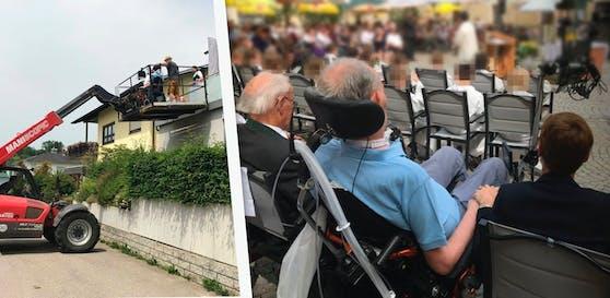 Ein Kran holte Herrn W. samt Rollstuhl vom 1. Stock seines Hauses ab, anschließend ging's zur Erstkommunion des Sohnemannes.