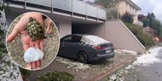 Heftiger Hagel zerschmettert in OÖ BMW-Scheibe