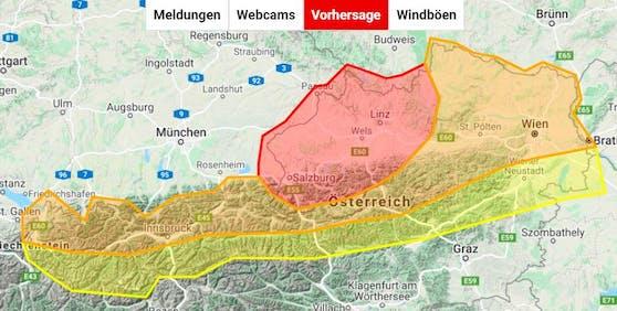Aktuelle Unwetter-Warnung für Österreich, gültig ab Dienstag Mittag (22. Juni) bis Mittwoch Früh (23.).