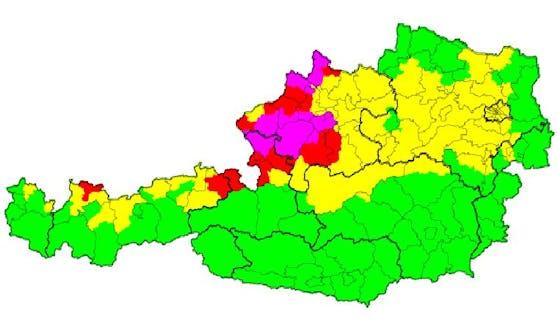 Aktuelle Unwetterwarnung in Österreich