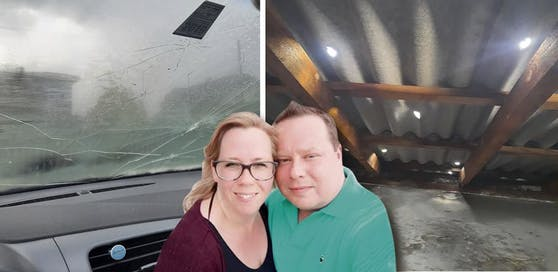 Jürgen und Michaela Schmid aus Pichling wurden von dem Hagel-Sturm hart getroffen. Sowohl ihr Auto als auch das Hausdach wurden schwer beschädigt.