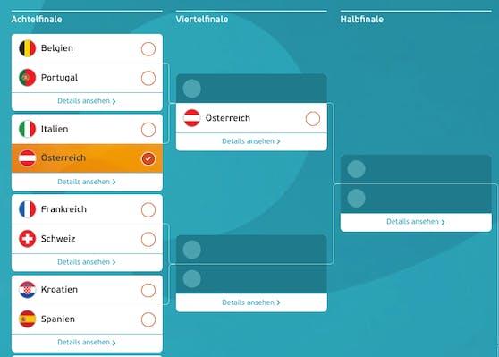 Österreich würde im Viertelfinale auf Portugal oder Belgien treffen.