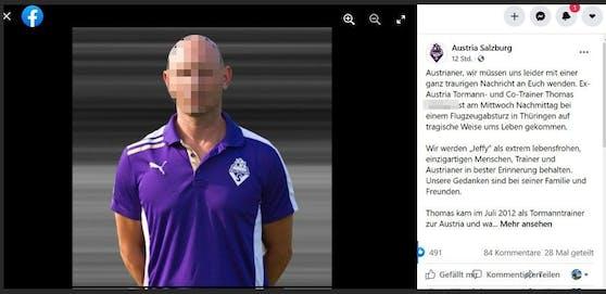 Austria Salzburg trauert um den ehemaligen Trainer, der bei einem Flugzeugabsturz ums Leben kam.