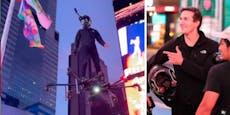 Spektakulär:Mann flog auf Hoverboard über Times Square