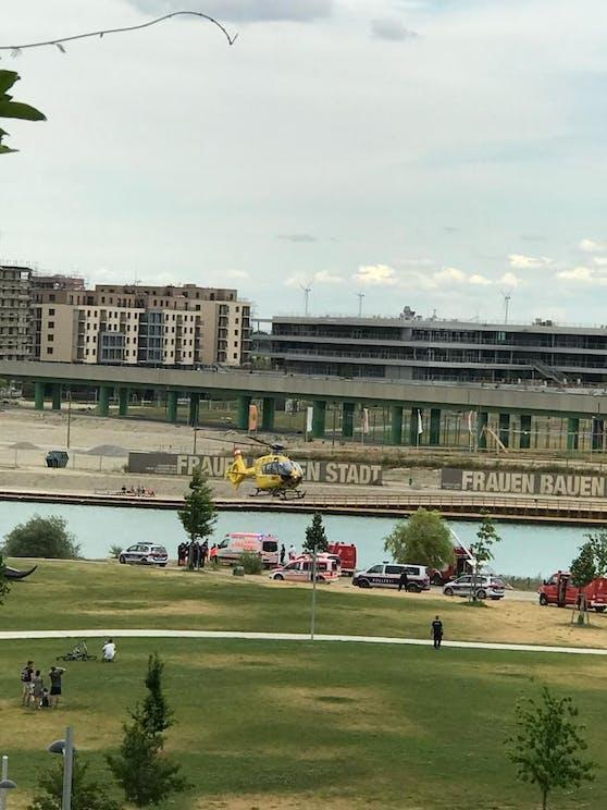 Rettungseinsatz in der Wiener Seestadt