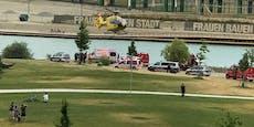 Polizei, Rettung – Blaulicht bei Donaustadt-Badesee