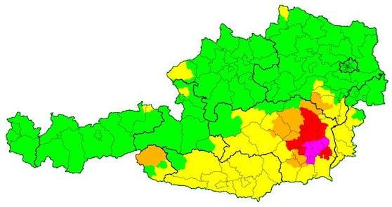 Unwetter-Warnungen für Österreich am Freitag, 25. Juni. Stand 15 Uhr.