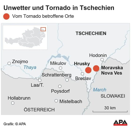 Hier wütete der Tornado - an der tschechisch-österreichischen Grenze.