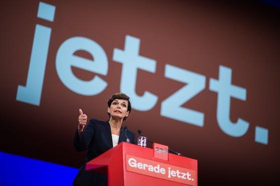 Parteivorsitzende Pamela Rendi-Wagner (SPÖ) am Samstag, 26. Juni 2021, beim SPÖ-Bundesparteitag.