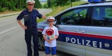 Nico durfte als Polizist einen Tag lang Autos anhalten