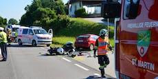 Pkw-Lenkerin rammt Biker in St. Martin