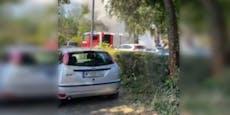 Auto beim Donaupark geht in Flammen auf