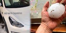 Hagel schrottet Tesla von Salzburger Tiktok-Star