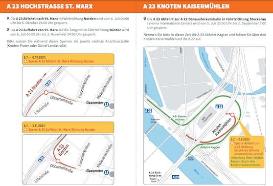 Die Umleitungen für die Sperren Knoten Kaisermühlen und St. Marx.