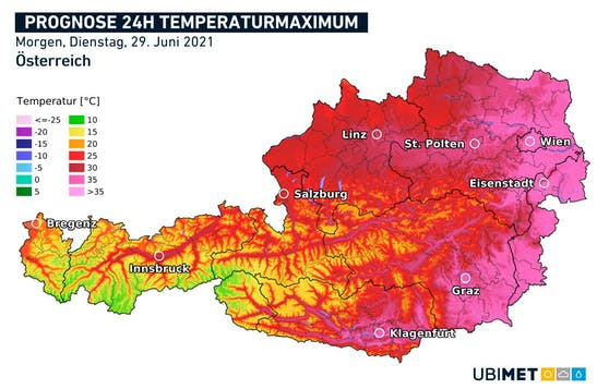 Hitze-Prognose für Dienstag, 29. Juni 2021
