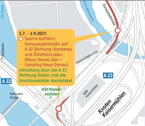 Wegen der Sperre der A22-Auffahrt von Donaustadt wird der Verkehr über die A23 umgeleitet.