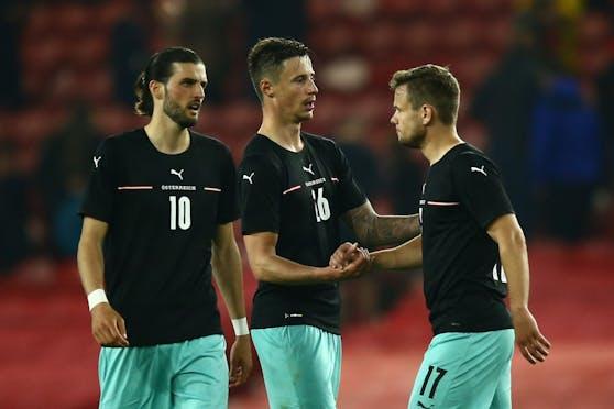 Das ÖFB-Team lief in England in schwarzen Trikots und türkisen Hosen auf