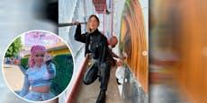 Jetzt wird auch Mathea auf Berliner Wand gesprüht