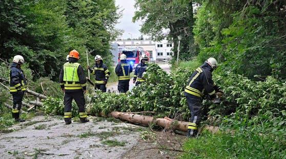 Aufräumungsarbeiten nach Unwetterschäden im Stadtgebiet von Mattighofen.