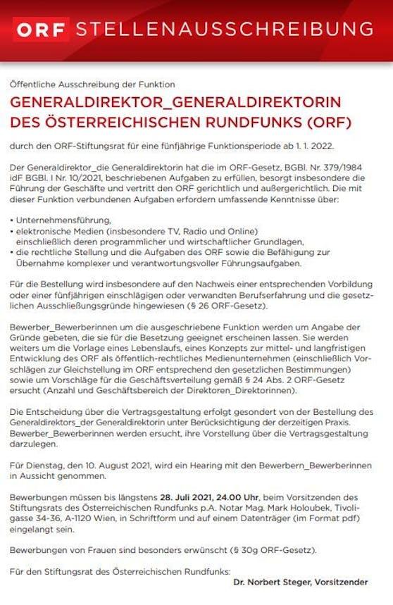 Diese Anforderungen sollte der künftige ORF-Generaldirektor erfüllen.