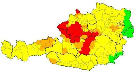 Schwere Gewitter toben derzeit in Oberösterreich, Niederösterreich, sowie in Teilen von Salzburg und der Steiermark.