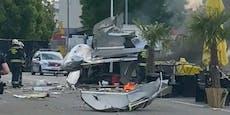 Foodtruck explodiert auf Supermarkt-Parkplatz in Wien