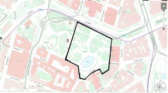 Das gesperrte Areal erstreckt sich von der TU bis zum Otto-Wagner-Pavillion.