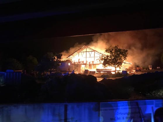Die Flammen schlugen meterhoch nach oben.