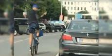 Wiener missachtet Verkehrsregeln, um BMW anzupöbeln