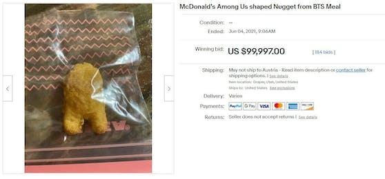 Prost, Mahlzeit! Ein Chicken McNugget wurde um knapp 100.000 US-Dollar versteigert.
