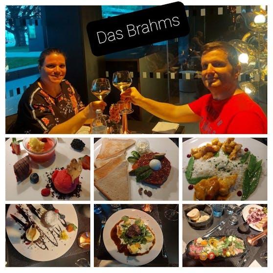 """Wochenendtrip-Gewinner Gerhard und seine Frau Priska beim tollen köstlichen Abendessen im Restaurant """"Das Brahms"""" in Innsbruck."""