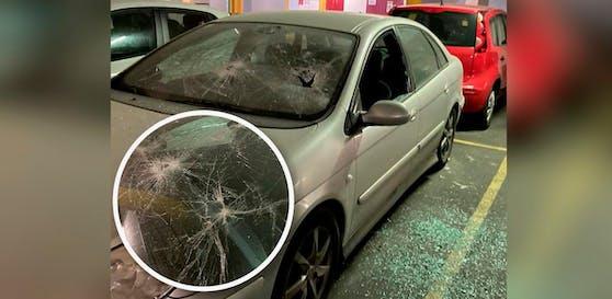 Unbekannte demolierten das Auto eines Linzers massiv.